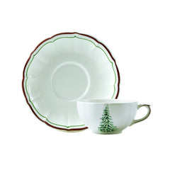 Gien Filet Noel S/2 Breakfast Cups & Saucers