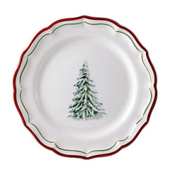 Gien Filet Noel S/4 Tree Dessert Plates