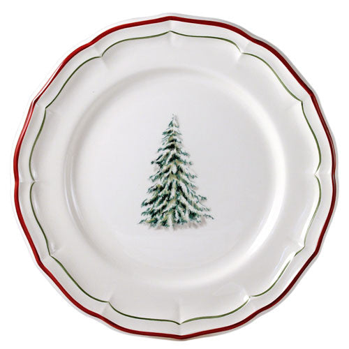 Gien Filet Noel S/4 Tree Dinner Plates