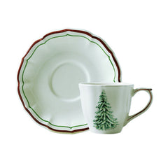 Gien Filet Noel US Tea Cups & Saucers