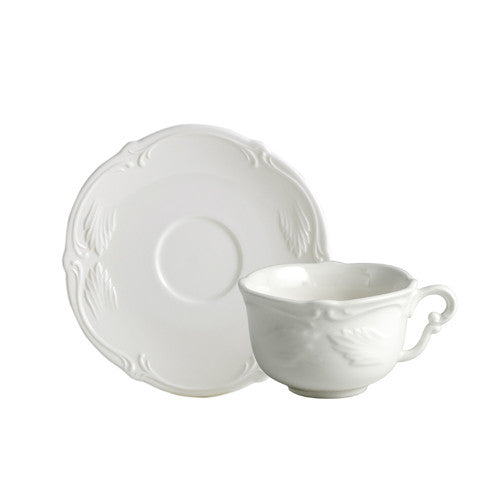 Gien Rocaille Blanc S/2 Tea Cups & Saucers