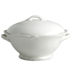 Gien Rocaille Blanc Covered Vegetable Bowl