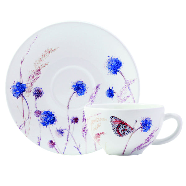 Gien Azur S/2 Breakfast Cups & Saucers