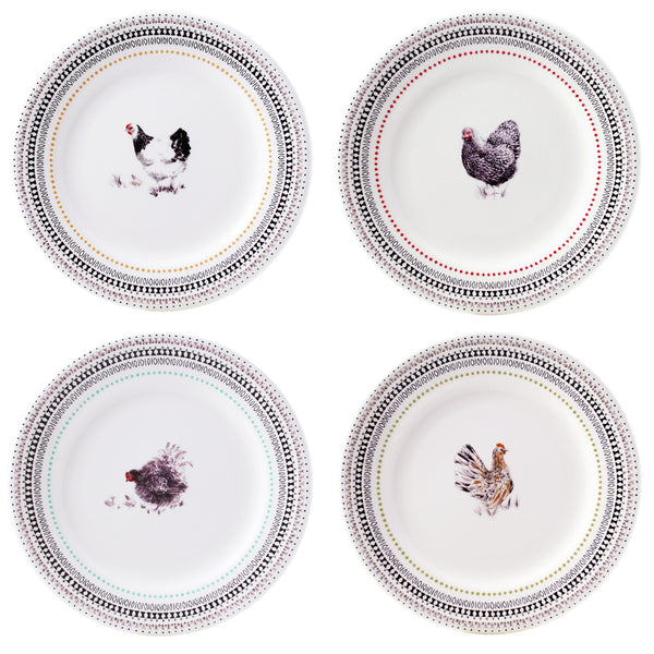 Gien Coquettes S/4 Assorted Dessert Plates