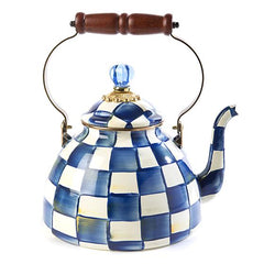 MacKenzie Childs Royal Check 3 Quart Tea Kettle