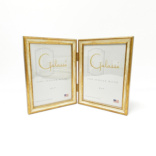 Italian Woods Traditional Ivory/Gold Double 5 x 7 Frame - Made in USA