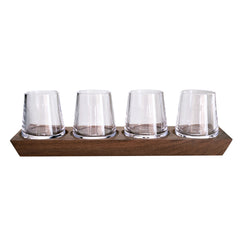 Simon Pearce Ludlow Whiskey Glass Set with Wood Base
