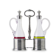 Match Oil & Vinegar Set W/Pewter Tops
