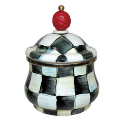 MacKenzie Childs Courtly Check Enamel Lidded Sugar Bowl
