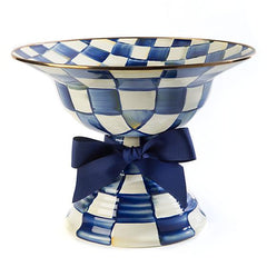 MacKenzie Childs Royal Check Large Compote