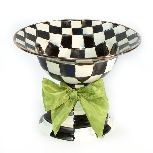 MacKenzie Childs Courtly Check Large Compote