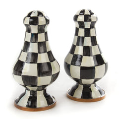 MacKenzie Childs Courtly Check Large Enamel Salt & Pepper Shakers