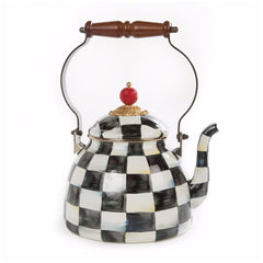 MacKenzie Childs Courtly Check 2 Quart Tea Kettle