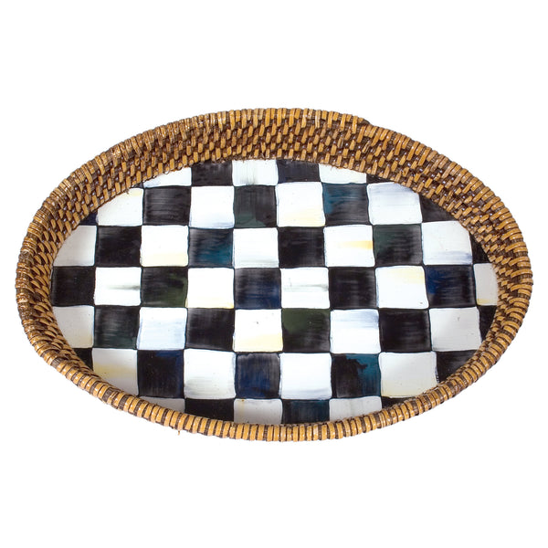 Mackenzie Childs Small Courtly Check Rattan Tray