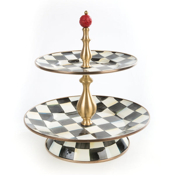 Mackenzie Childs Courtly Check Two Tier Sweet Stand