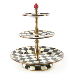 Mackenzie Childs Courtly Check Three Tier Sweet Stand