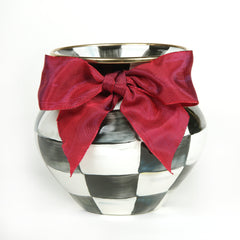 MacKenzie Childs Courtly Check Red Bow Vase