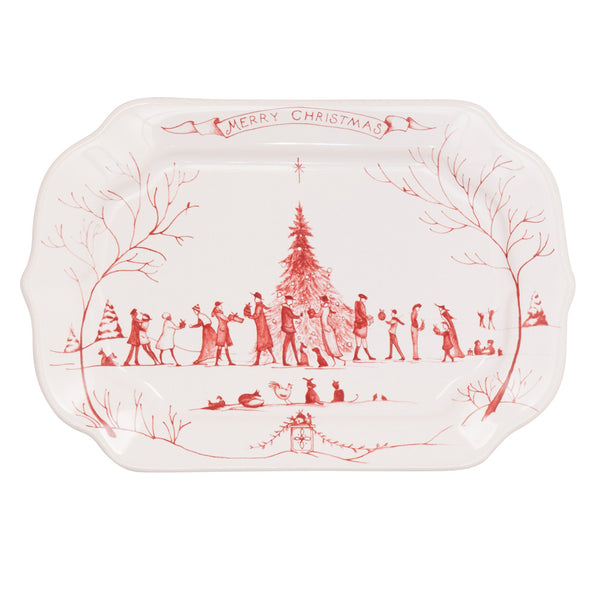"Juliska Country Estate Winter Frolic Ruby Gift Tray ""Merry Christmas"""