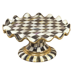 MacKenzie-Childs Courtly Check Fluted Cake Stand