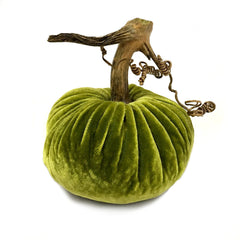 Plush Chartreuse Small Velvet Pumpkin