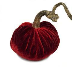 Plush Cherry Small Velvet Pumpkin