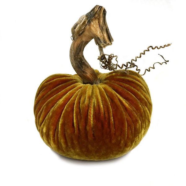Plush Curry Large Velvet Pumpkin