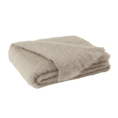 Lands Downunder Brushed Mohair Throw - Flax