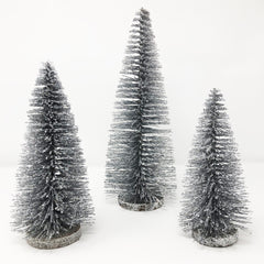 Silver Bottle Brush Tree Trio