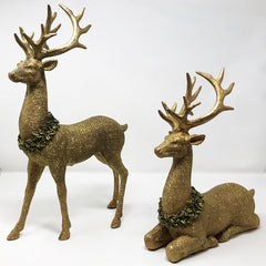 Gold Deer with Wreath