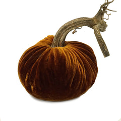 Plush Harvest Small Velvet Pumpkin