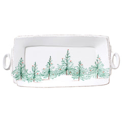 Vietri Lastra Holiday Rectangular Handled Platter