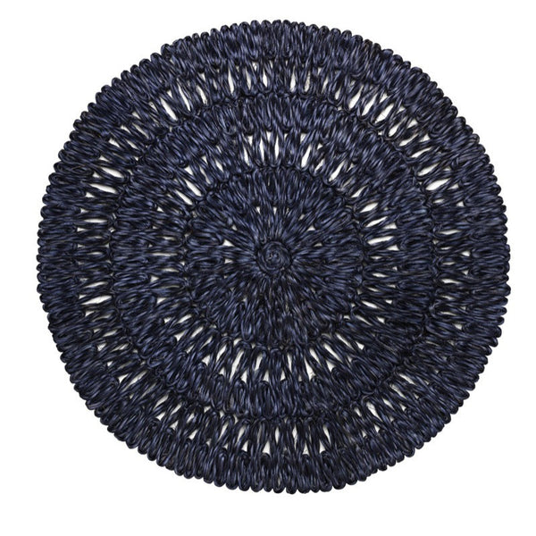 Juliska Straw Loop Round Placemat Navy Blue
