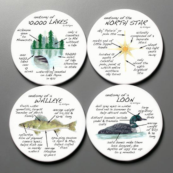 Dishique Minnesota Anatomy Coaster Set