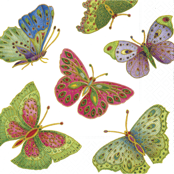 Caspari Jeweled Butterflies Luncheon Napkins