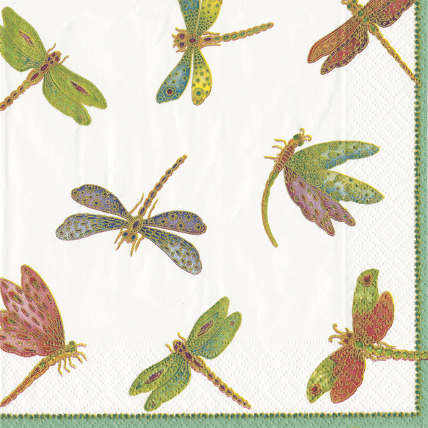 Caspari Jeweled Dragonflies Luncheon Napkins