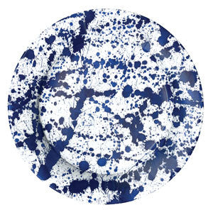 Caspari Splatterware blue Dinner Plates