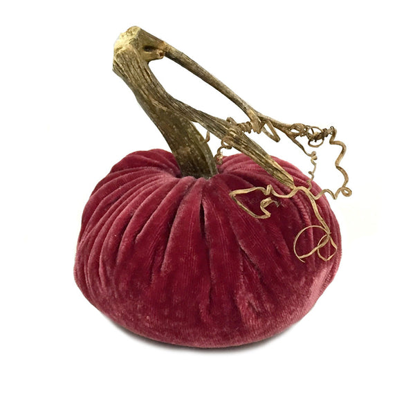 Plush Pomegranate Large Velvet Pumpkin