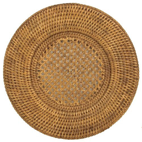 Caspari Rattan Round Plate Charger in Dark Natural