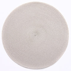"Deborah Rhodes Silver/Sand Metallic Round 15"" Placemat (Set of 6)"