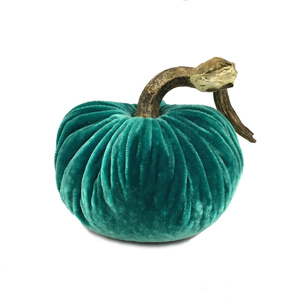 Plush Turquoise Small Velvet Pumpkin