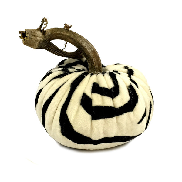 Plush Zebra Black Small Velvet Pumpkin