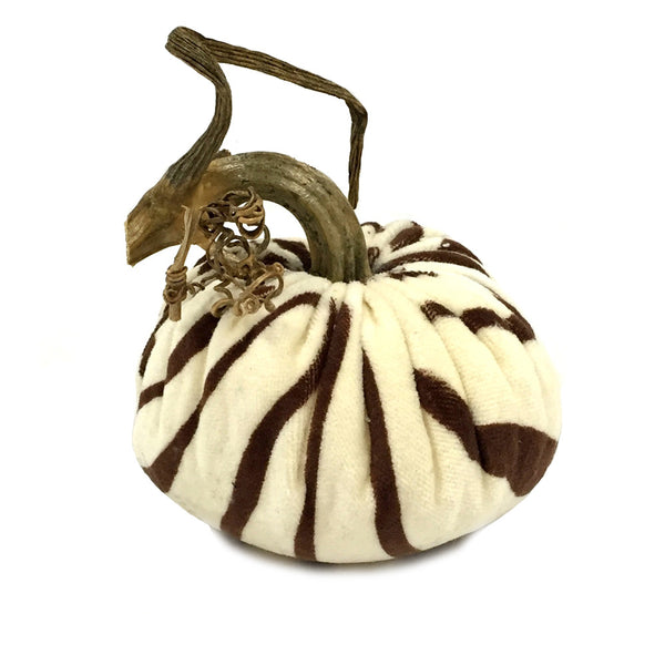 Plush Zebra Brown Large Velvet Pumpkin