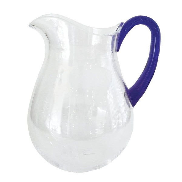Caspari Acrylic Clear Pitcher with Cobalt Handle