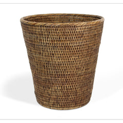 Antique Brown Rattan Round Waste Basket