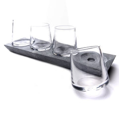 Simon Pearce Alpine Whiskey Glass Set w/ Soapstone Base