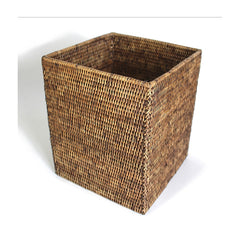 Antique Brown Rattan Square Waste Basket