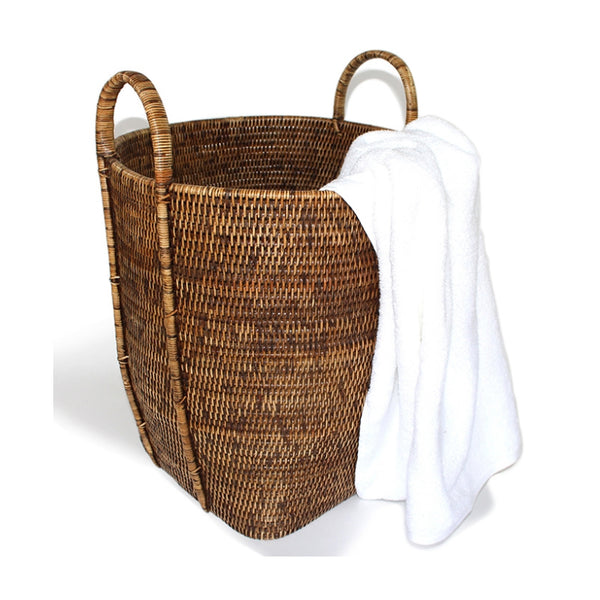 Antique Brown Round Laundry Basket with Loop Handles