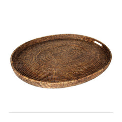 Antique Brown Rattan Oval Tray