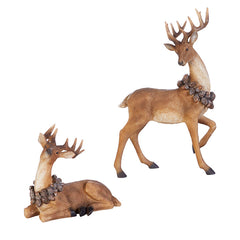 Deer with Pinecone Wreath