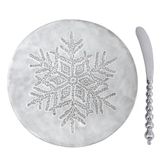 Mariposa Ceramic Dotty Snowflake Canape Plate with Beaded Knife
